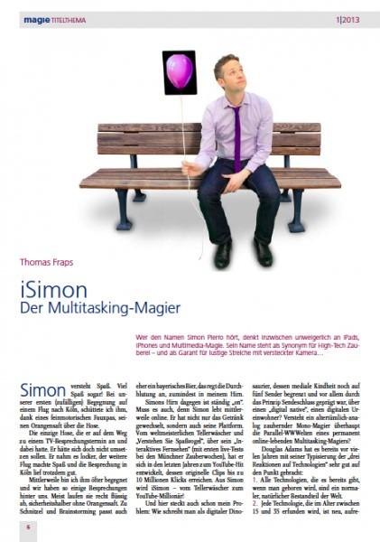 Vorschau des Artikels über iPad Magier Simon Pierro in der Zeitschrift 'Magie'