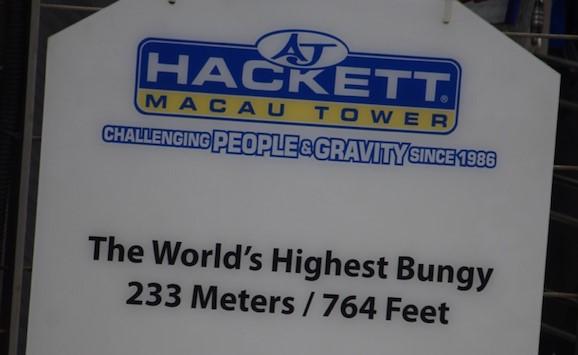 Höchster Bungee Jump-Turm Hackett Macau Tower